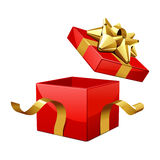 Open empty red gift with gold bow. Vector illustration Royalty Free Stock Photography