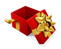 Open empty red gift with gold bow t Royalty Free Stock Photos