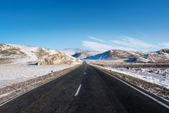 Open empty road with beautiful rodeside view at countryside in winter. Open empty road with beautiful rode side view at countryside in winter Stock Image