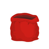 Open empty sack Santa Claus. Red big bag for gifts.. Christmas and new year holiday bag Stock Images