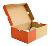 Open empty shoe cardboard box Royalty Free Stock Image