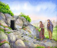 Open empty tomb. Watercolor painting stock illustration