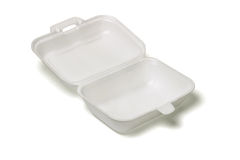 Open empty Styrofoam takeaway box Stock Image