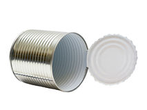 Open an empty tin can stock photo