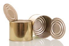 Open empty tin cans isolated on white. Stock Photos