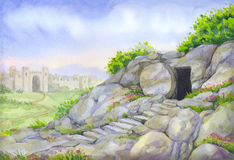 Open empty tomb. Watercolor painting Royalty Free Stock Image