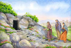 Open empty tomb. Watercolor painting vector illustration