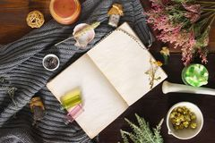 An open empty vintage notebook surrounded by herbs, alchemy appliances, potions and ingredients lies on a dark wooden table. Magic royalty free stock photography
