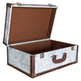 Open empty vintage suitcase isolated Stock Photo