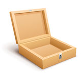Open empty wooden box vector. Open empty wooden box. Vector illustration. On white background. Transparent objects used for lights and shadows drawing Stock Images
