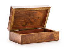 Open empty wooden square box Royalty Free Stock Photos