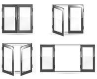 Open en dichte zwarte vensters Royalty-vrije Stock Fotografie