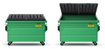 Open en gesloten groene dumpster Royalty-vrije Stock Fotografie