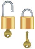 Open en gesloten hangslot dat met sleutel wordt geplaatst Stock Foto