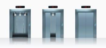 Open en gesloten realistische liftdeuren Vector illustratie Royalty-vrije Stock Foto's