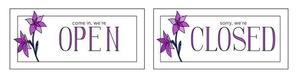Open en gesloten vectorplaat Minimalisticstijl Violette kleuren royalty-vrije illustratie