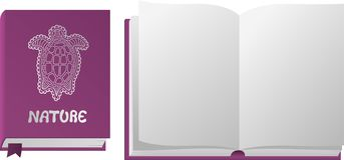 Open en gesloten violet boek met schildpad royalty-vrije illustratie