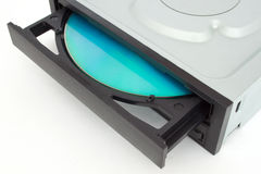 Open-ended CD - DVD drive with a black cap and disk inside. Isolated object Stock Image
