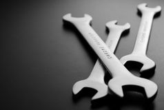 Open Ended Wrenches on Gray with Copy Space Stock Images