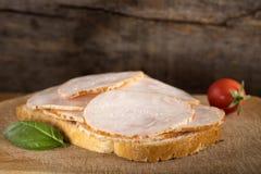 Open enfrentou o sanduíche de presunto da galinha Imagem de Stock Royalty Free