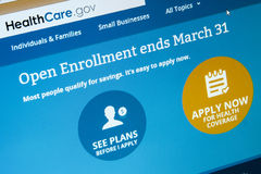 Open enrollment is almost over at Healthcare.gov Stock Photography