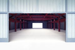 Open entrance door to industrial building perspective view Stock Photos