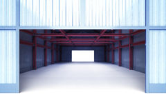 Open entrance gate to industrial building perspective view Royalty Free Stock Image