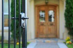 Open entrance iron gate stock photography
