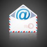 Open envelop met e-mail. Vector illustratie. Stock Foto's