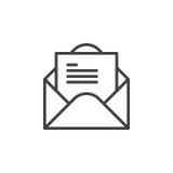 Open envelop met het pictogram van de brievenlijn, overzichts vectorteken, lineair die stijlpictogram op wit wordt geïsoleerd vector illustratie