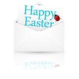 Open envelop met inschrijving Gelukkige Pasen Stock Foto's