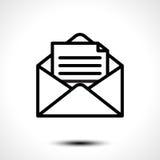 Open envelop voor brief Symbool van bericht, post, e-mail of bedrijfsdiedocumentpictogram op witte achtergrond wordt geïsoleerd Stock Foto