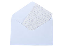 Open the envelope. Paper labels isolated on white background Stock Photo