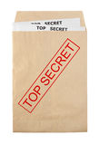 Open envelope. Open rude envelope for document with top secret stamp and documents Royalty Free Stock Photo