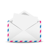 Open envelope air with the clean sheet of paper inwardly. Illustration Royalty Free Stock Photo