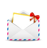 Open envelope air with a greeting-card inwardly. Vector  illustration Royalty Free Stock Image