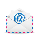 Open envelope air with the icon of electronic letter inwardly Royalty Free Stock Images