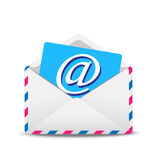 Open envelope air with the icon of electronic letter inwardly Royalty Free Stock Image