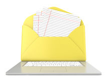 Open envelope and blank lined paper on laptop. Front view. 3D render. Illustration  on white background Stock Photos