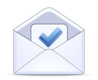 Open envelope with a blue check mark Stock Photos