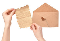 Open envelope with a broken seal Stock Images