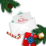 Open envelope with card Merry Christmas and Happy New Year with stock illustration