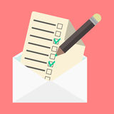 Open envelope and check list. Vector illustration Stock Photos