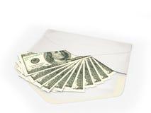 Open envelope containing dollar bills Stock Image