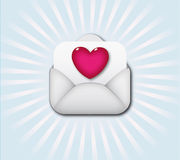 Open envelope containing heart symbol Royalty Free Stock Photo