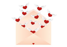 Open envelope with departing hearts with wings. Valentine`s Day. Stock Images