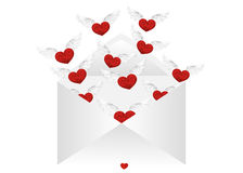 Open envelope with departing hearts with wings. Valentine`s Day. Royalty Free Stock Image