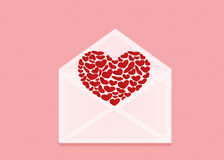 Open envelope with departing red heart. Valentine`s Day. Love Royalty Free Stock Photography