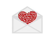 Open envelope with departing red heart. Valentine`s Day. Love Royalty Free Stock Photos