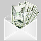 Open the Envelope with Dollar Bills. Open the Envelope with Five Hundred Dollar Bills (as an example of the concept of salaries, bribe, gifts), vector Royalty Free Stock Image